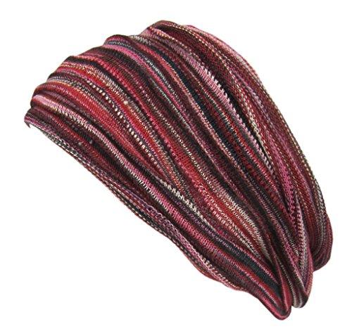 Little Kathmandu Multicoloured Stretchable Cotton Knitted Handmade Double Hair Headband Bandana Pink Red Mix (Headband Striped Cotton)