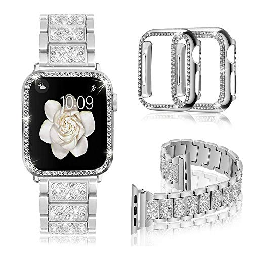 Mosonio Compatible with Apple Watch Band 38mm 40mm 42mm 44mm with 2 Pack Case Women, Jewelry Replacement Diamond Metal Wristband Strap with Bling PC Protective Case for iWatch Series 6/5/4/3/2/1