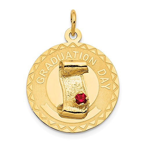 14k Yellow Gold Graduation Day Pendant Charm Necklace Red Synthetic Stone Special Fine Jewelry Gifts For Women For Her ()