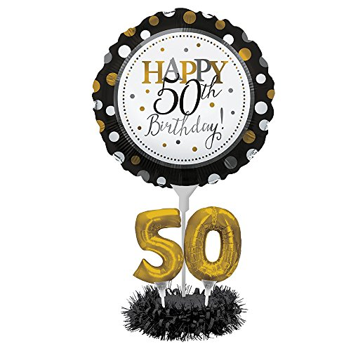 Happy 50th Birthday Balloon - Happy 50th Birthday Balloon Centerpiece Black and Gold for Milestone Birthday