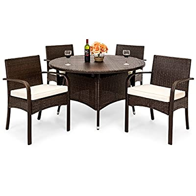Best Choice Products 5-Piece Indoor Outdoor Patio All-Weather Wicker Dining Set w/Table, 4 Chairs, Cushions, Brown - STYLISH AND ELEGANT: Made with durable, weather-resistant wicker, this dining set compliments any backyard space WEATHER RESISTANT: Wicker and polyester cushions offer protection against inclement weather and outdoor elements BUILT TO LAST: The aluminum frames for the table and chairs are sturdy and long-lasting, ensuring that you can enjoy this set for years to come - patio-furniture, dining-sets-patio-funiture, patio - 51KCxMDbUsL. SS400  -