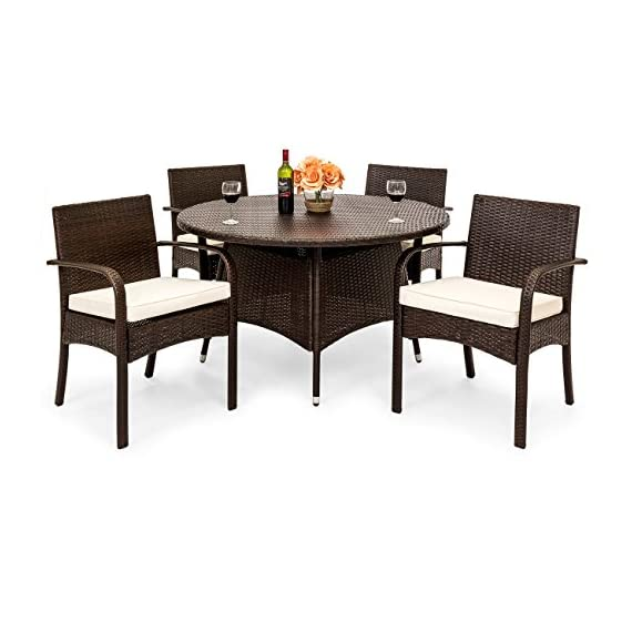 Best Choice Products 5-Piece Indoor Outdoor Patio Wicker Dining Set Furniture w/Round Table, 4 Chairs, Cushions - STYLISH AND ELEGANT: Made with durable, weather-resistant wicker, this dining set compliments any backyard space WEATHER RESISTANT: Wicker and polyester cushions offer protection against inclement weather and outdoor elements BUILT TO LAST: The aluminum frames for the table and chairs are sturdy and long-lasting, ensuring that you can enjoy this set for years to come - patio-furniture, dining-sets-patio-funiture, patio - 51KCxMDbUsL. SS570  -