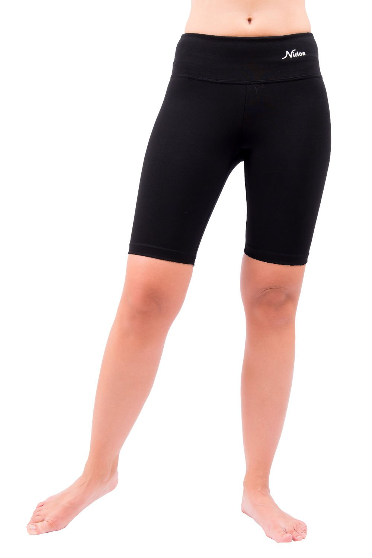 Nirlon Yoga Shorts for Women Athletic Running Jogging & Sport Short Yoga Pants Best Workout Short Leggings 9'' Inseam (L, Black)