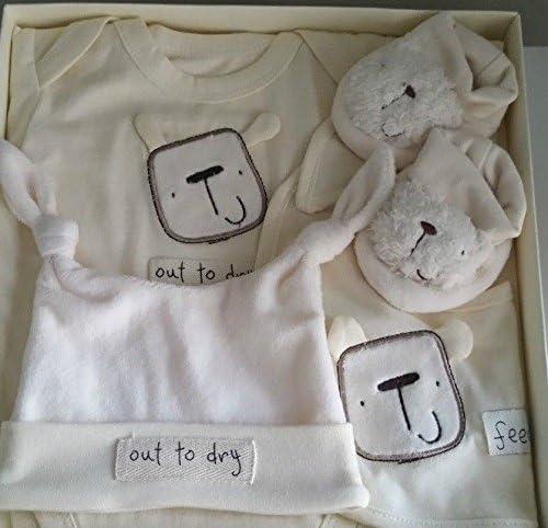 New Born Gift Set 4 piece Unisex 3-6months Hat Bodysuit Boots Bib Lollipop Lane