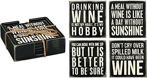 Primitives By Kathy Classic Black and White Coasters, Set of 4, Wine |