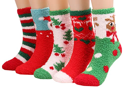 5 Pairs Christmas Holiday Cozy Fuzzy Super Soft Winter Socks For Women A410