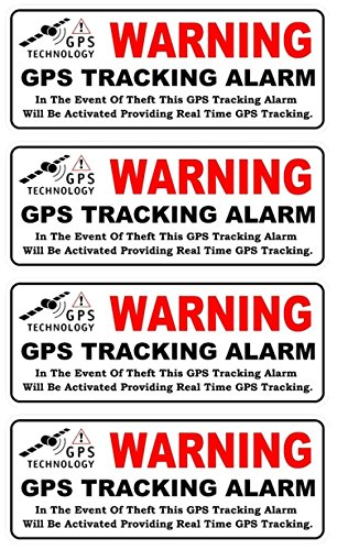 4-Pcs Superbly Fashionable Back Adhesive Warning GPS Tracking Alarm Stickers Sign Anti-Theft Car Decal Auto RV Size 4.5