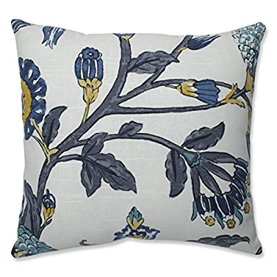 Pillow Perfect Auretta Peacock Throw Pillow, 16.5-inch, Grey - Includes one (1) decorative throw pillow filled with 100-percent polyester fiber filling; suitable for indoor use Edges of pillow are knife edge with a sewn seam closure Easy care - lightly spot clean or handle wash fabric with mild detergent and cool water; then let air dry - patio, outdoor-throw-pillows, outdoor-decor - 51KCyV 0qyL. SS400  -