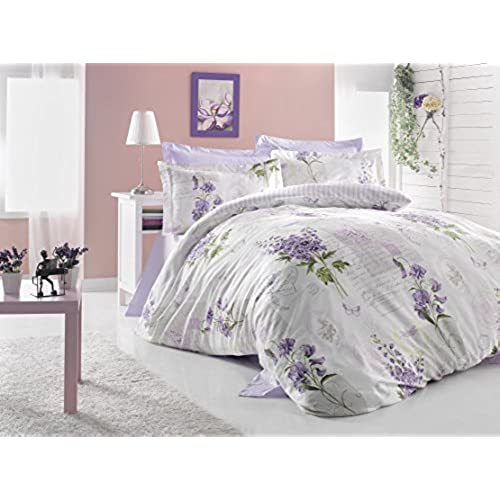 100 cotton duvet cover bedding set revesible queen lavinya lilac - Liliac Bedding