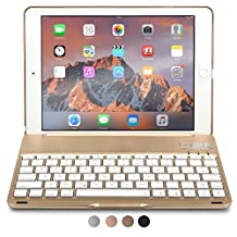 iPad Air 2 Keyboard case, COOPER NOTEKEE F8S Bluetooth QWERTY Wireless Keyboard Hard Clamshell Carrying Case Cover with 7 Backlit Colors for Apple iPad Air 2 (Gold)