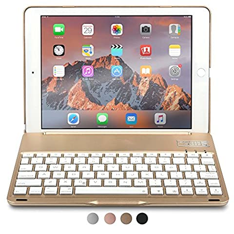 iPad Air 2 Keyboard case, COOPER NOTEKEE F8S Backlit LED Bluetooth Wireless Rechargeable Keyboard Portable Laptop Macbook Clamshell Clamcase Cover with 7 Backlight Colors for Apple iPad Air 2 (Gold) - Braccio Dell'asta Asta Del Microfono