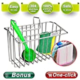 Zolove 2nd generation Sponge Holder, Upgrade Stainless Steel Sink Caddy Dishwashing Liquid Drainer Rack Sink Organizer for Brush Soap Towel and Sink Supplies with extra Bonus-A Sponge and A Scrubber.