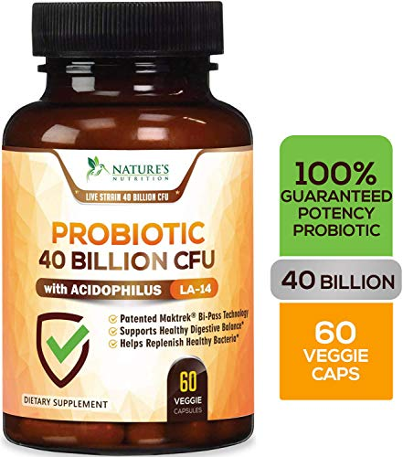 Probiotic 40 Billion CFU. Guaranteed Potency Until Expiration - 15x More Effective Patented Delay Release Lactobacillus Acidophilus - Made in USA - Digestive Health for Women & Men - 60 Capsules (4x Probiotic)