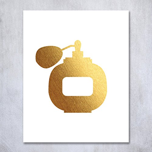 Mascara Perfume (Perfume Gold Foil Art Print Poster Decor Wall Art Vintage Bottle Metallic Makeup Fashion Girl Room Nursery Art 8 inches x 10 inches A3)
