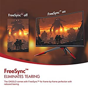 144Hz VIOTEK GN32LD QHD 32 inch Curved Gaming Monitor – 16:9 Widescreen; Adjustable Stand, 1440p Resolution & FreeSync