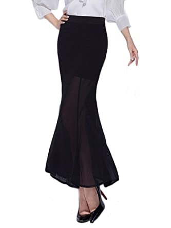 22ff739129 Lingswallow Women s Elegant Chiffon Flare Mermaid Maxi Black Skirt Long  Dress at Amazon Women s Clothing store