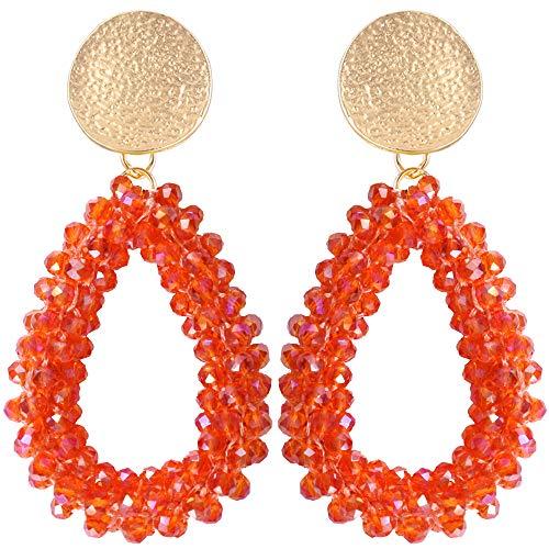 Stylebar Teardrop Beaded Earrings for Summer Bohemian Orange Bead Boho Drop Dangle Earring Handmade Jewelry for Women Girls Daily Wedding Party
