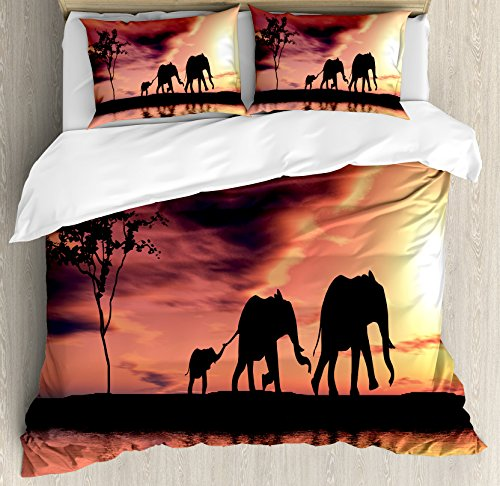 Ambesonne Elephant Duvet Cover Set King Size, Elephant Silhouettes by River Animals Adventure Landscape, Decorative 3 Piece Bedding Set with 2 Pillow Shams, Coral Seal