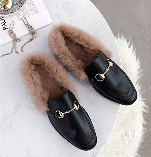L'automne Semi L'hiver Porter Muller À Baotou Femmes Des Dans Plat Fond Chaussures Chaussons Et Zhaoxiangxiang Les Classique Pantoufles Style RcqXnaB4WW