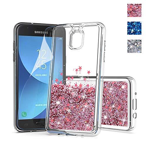 for Samsung J7 Star case,J7 Refine case Glitter,J7V 2nd Gen Phone case,DDTKZC Sparkle The Glitter and Liquid TPU is Clear Slim Fit Case,for Samsung Galaxy J7 2018 case (Rose Gold)