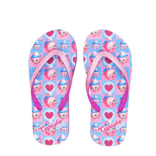 Little Girls Cupcake (Shopkins Girls Flip Flops with Jelly Straps in Cupcake, Size 11/12 US Little Kid)