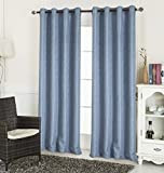 RT Designers Collection Dillon Textured 54 x 90 in. Grommet Curtain Panel, Blue For Sale