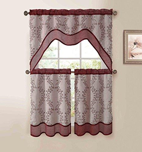 Burgundy Beige 3-Pc Kitchen Window Curtain Set: Two-Layer Sheer, Vine Embroidery