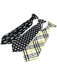 Ukerdo 3 pc Boys Design Party Ties Kids Mixed Polyester Neck Tie Set Accessories (A)
