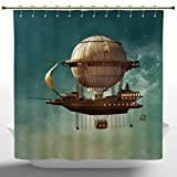 Anti-Bacterial Shower Curtain by iPrint,Fantasy Decor,Surreal Sky Scenery with Steampunk Airship Fairy Sci Fi Stardust Space Image,Teal and Brown,Polyester Fabric Bathroom Shower Curtain Set with Hook