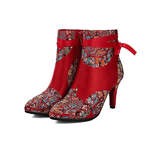 AllhqFashion Damen Weiches Material Gemischte Farbe Reißverschluss Stiefel  Rot ...