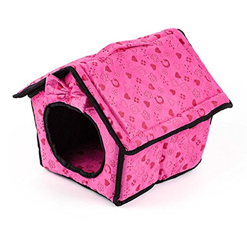 Soft Pet House Bed Daily Products For Small Dogs & Cats (L:343834cm, Rose Red)