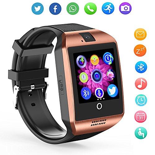 ZRSJ Bluetooth Smart Watch Q18 Touch Screen Smartwatches with Camera SIM/TF Card Slot, Sports Fitness Tracker Smartwatch for Android Smartphones iOS Samsung Motorola Men Women Kids (Gold) by ZRSJ