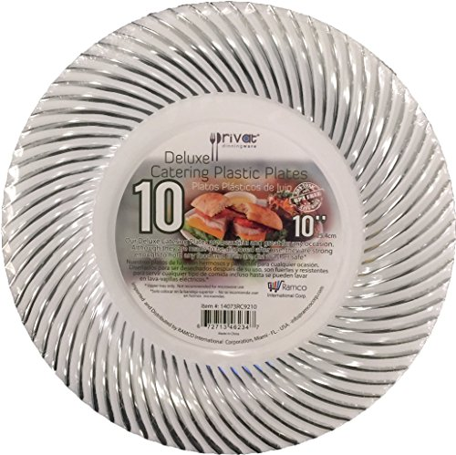 PRIVAT DELUXE CATERING PLASTIC PLATES Hard White Plate with Sea Shell Stamp, Box of 200 count (10 Pack), Beautiful and Great for any Occasion, Non Toxic, BPA Free (10 Inch)