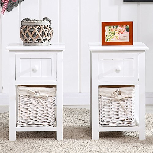 Set of 2 White Chic Nightstand End Side Bedside Table w/Wicker Storage Wood - Ocean Wicker End Table