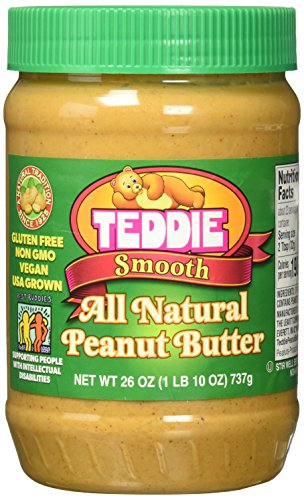 Teddie All Natural Peanut Butter, Smooth, 26-Ounce Jar (Pack of 3) Natural Peanut