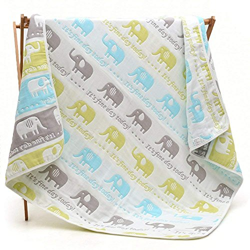 Lightweight/Portable Baby Ultra Soft Crib/Bed Quilt Blanket All Weather for Babies Or Toddler,Organic Muslin Cotton Quilts/Blankets Elephant (Grass Green) - Quilted Muslin