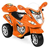 Best Choice Products 6V Kids Battery Powered 3-Wheel Motorcycle Ride-On Toy w/ LED Lights, Music, Horn, Storage - Orange