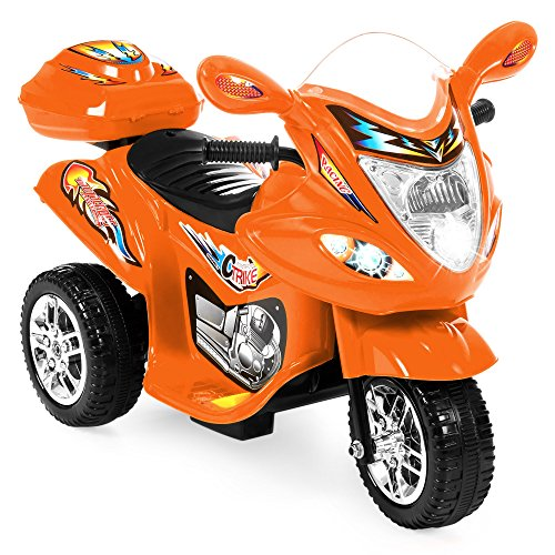 Best Choice Products 6V Kids Battery Powered 3-Wheel Motorcycle Ride-On Toy w/ LED Lights, Music, Horn, Storage - Orange by Best Choice Products