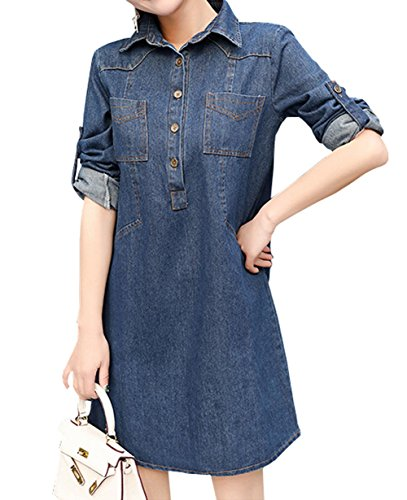 免疫ヒープチーズ雲の花 ポケットの女性のプラスサイズルーズシャツドレス長袖デニムワンピース