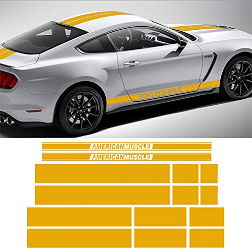 (Charminghorse American Muscle Side Door Stripes Front Rear Bumper Hood Roof Trunk Graphic Decal Stickers Racing Rally Kit for Ford Mustang 2015 2016 2017 (Reflective Yellow))
