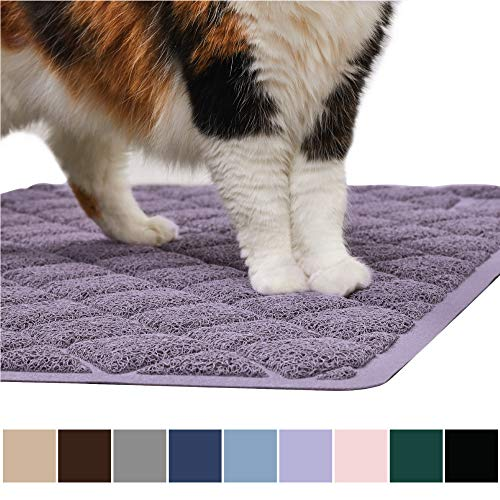 Gorilla Grip Original Premium Durable Cat Litter Mat, XL Jumbo, No Phthalate, Water Resistant, Traps Litter from Box and Cats, Scatter Control, Soft on Kitty Paws, Easy Clean Mats, Corner, Purple