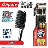 Colgate Slim Soft Charcoal Toothbrush Soft & Fine Bristles 0.01mm, Pack of 3