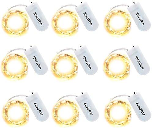 9 Pezzi KINGTOP 2M 20 LED Luci Led Micro, Impermeabile Luci Stringa con Interruttori Luci Natali Con Batteria Catena Luminosa Decorativa Per Interno e Esterno (Bianco Caldo)