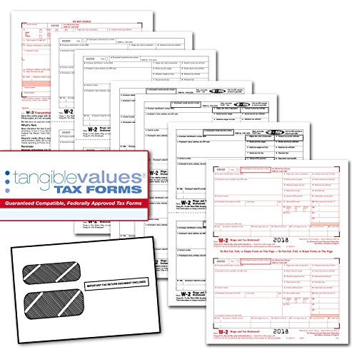 Tangible Values W-2 Laser Forms (6-Part) Kit with Envelopes for 50 Employees (2018)