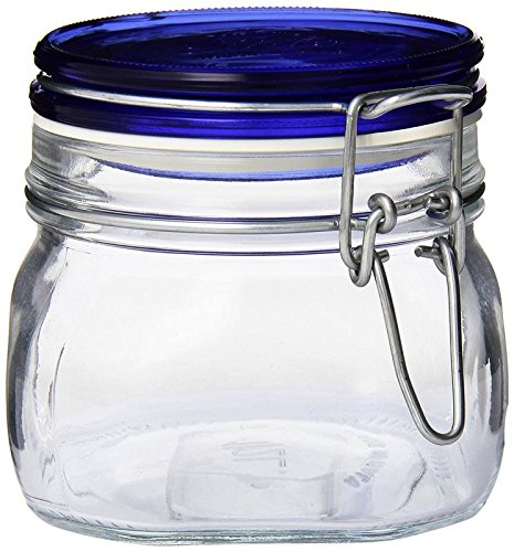 Bormioli Rocco Fido Square Glass Canning Jar with Blue Lid, 0.5 Liter (Pack of 2) by Bormioli Rocco (Image #2)