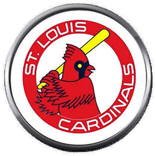 (Old School MLB St Louis Cardinals Baseball Logo 18MM - 20MM Snap Jewelry Charm)