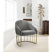 Iconic Home FAC9104-AN Teatro Accent Club Chair Shell Design Velvet Upholstered Half-Moon Gold Plated Rods Solid Metal Base Modern Contemporary, Grey