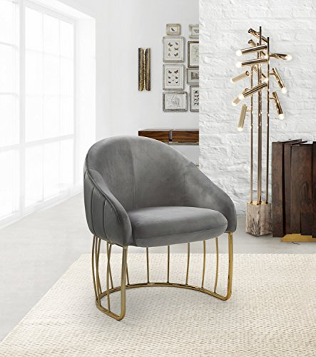Iconic Home Rouge Accent Club Chair Shell Design Velvet Upholstered Half-Moon Gold Plated Rods Solid Metal Base, Modern Contemporary, Grey