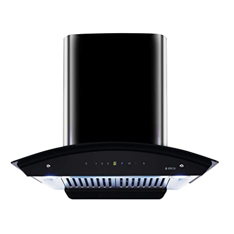 Elica 60 cm 1200 m3/hr Auto Clean Chimney with Free Installation Kit (WD HAC Touch BF 60 MS, 2 Baffle Filters, Touch + Motion Sensor Control, Black)