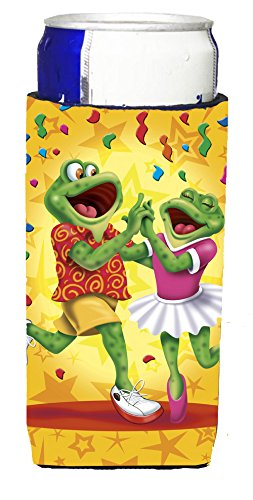 Caroline's Treasures APH3874MUK Frog Swing Dancing Michelob Ultra Koozies For Slim Cans, Multicolor